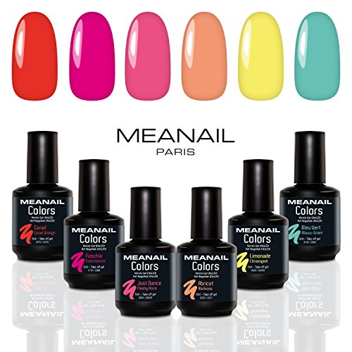 Smalto semipermanente per unghie gel uv led 6 colori kit per manicure semipermanente con 6 smalti nail polish soak off gel norme ce europee meanail paris
