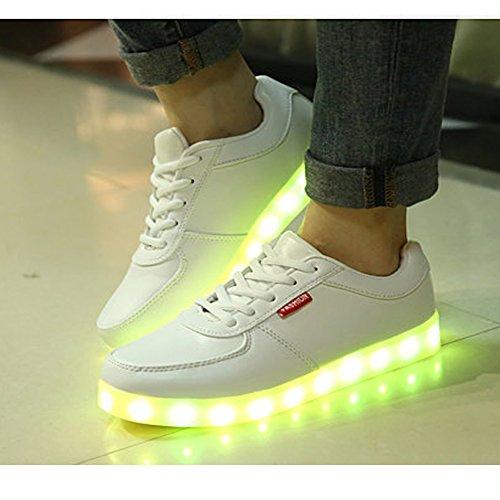 iLory de Couleur Mode Unisexe Homme Femme USB Charge LED Lumière Lumineux Clignotants Chaussures de Sports Baskets Sneakers Blanc