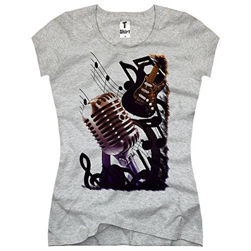 TEE-Shirt, Damen T-Shirt Musik-Noten Größe M,Grau - Damen-musik-t-shirts