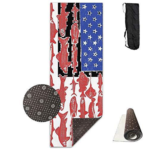 Deluxe-Yogamatte, Angelfisch, USA-Flagge, für Aerobic, Pilates, rutschfest