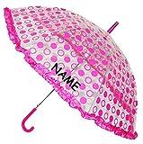 alles-meine.de GmbH Regenschirm - AUTOMATIK - Transparent -  Punkte Pink / Rosa & 3-D Borte  - i..