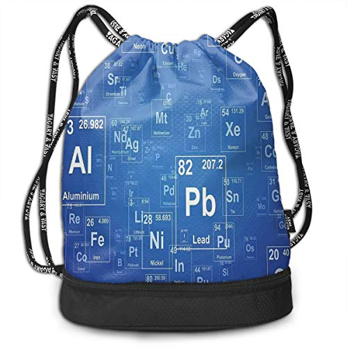 Hmihilu Drawstring Backpacks Daypack Bags,Chemistry Tv Show Inspired Image with Periodic Element Table Image Print Art,Adjustable String Closure