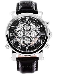 Boudier & Cie SK14H032 - Reloj Esqueleto Automatico Analogico para hombre, Esfera negra, Correa de Cuero negro, Acero inoxidable