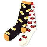 Themes Best Deals - Food Theme Knee High Socks for Women - Orange & Strawberry