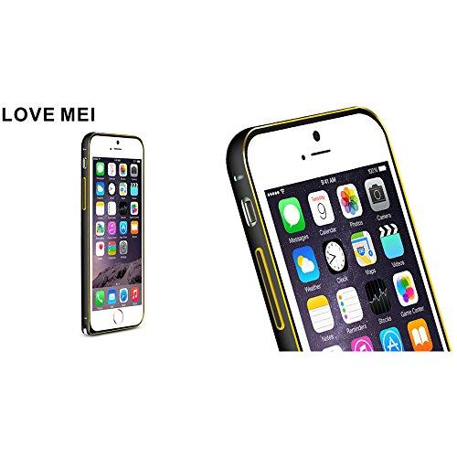 Love Mei Schutzhülle für iPhone 6Plus 14cm Luxus Aluminium Legierung Metall Rahmen Bumper Cover Black+Golden