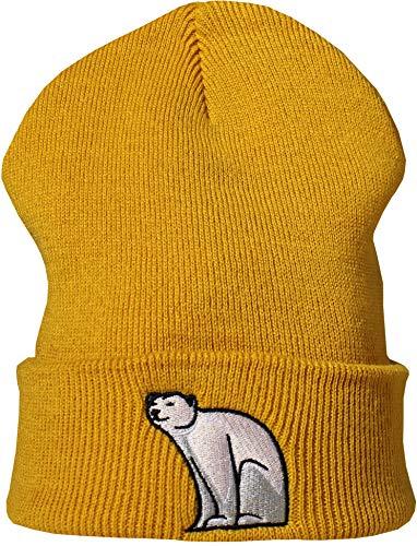 Baddery Strickmütze: Eisbär - Beanie/Winter/Woll-Mütze/Roll-Muetze/Kinder/Cool/Slouch/Herren Damen Fraue-en Männer/Lustig-e/Geschenk Freundin/Urban/Süss (Senfgelb)