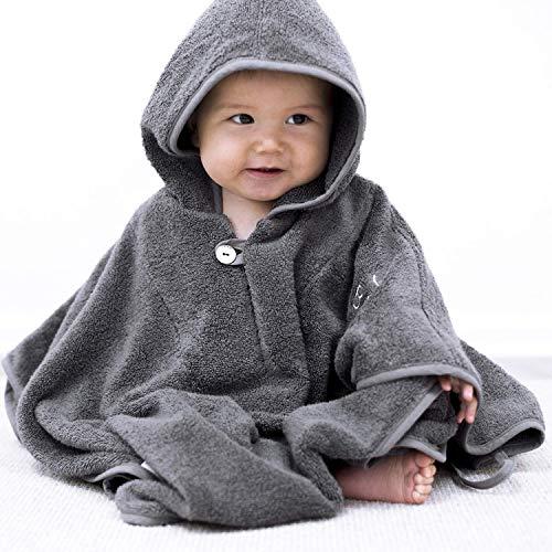 """Mabyen Baby Poncho - Babybademantel Kapuzenbademantel Badehandtuch 100% Baumwolle Grau & Hellgrau Bekannt Aus""""Die Höhle Der Löwen"""""""