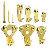 Kuuqa 140 Piezas Ganchos para colgar en cuadro de oro Heavy Duty Picture Frame Kit para colgar en la pared y madera con clavos 10-100 lbs