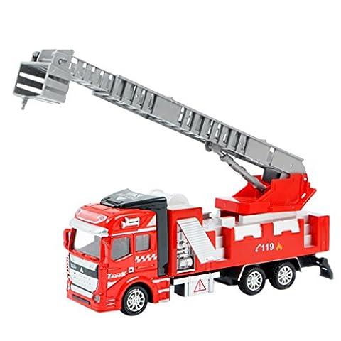 Bébé Jouet Camion de Pompier à Friction 1:48 Echelle Modelage Véhicules Miniature Fire Rescue Echelle Aérienne Truck Voiture Toy Cadeau Noël/ Premier Age/ Anniversaire Pour Garçon Filles Enfants
