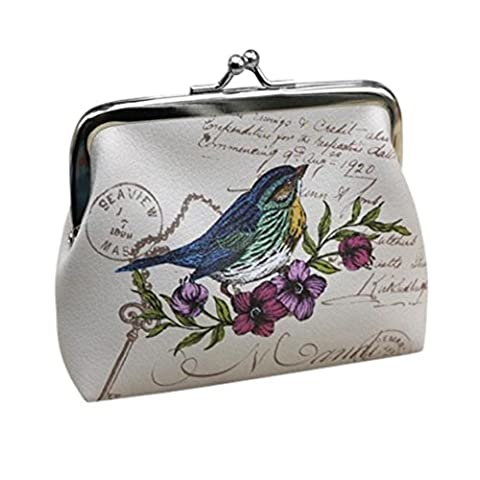 Ularma Damen Retro Vintage Kleine Brieftasche Blumen Schmetterling Geldbörse MIni Handtasche Elegante Tasche (B)