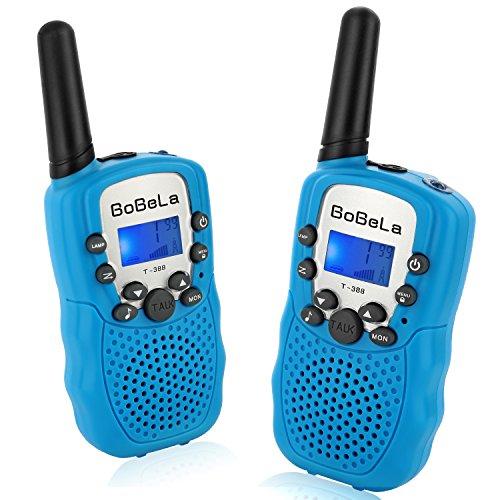 Bobela T388 Funkgeräte Kinder Walkie Talkie Set mit lampe LCD Dispplay / VOX PMR Lizenzfrei Walky Talky 8 Kanäle 0.5w 3km Walki Talki Geschenke für Kinder ab 3 5 8 Jahre (2er-Set, Blau) (Auto Kinder Für 10 Ab Jahren)