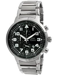 gino franco Men's 9668BK Round Stainless Steel Chronograph Bracelet Watch