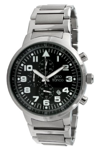 gino franco Men's 9668BK Round Stainless Steel Chronograph Bracelet Watch