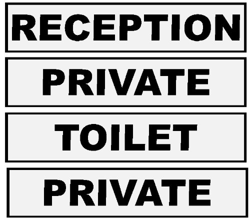 Set of Office Door Signs. Reception/Private x 2/Toilet 60x200mm each - OR YOUR CHOICE of wording