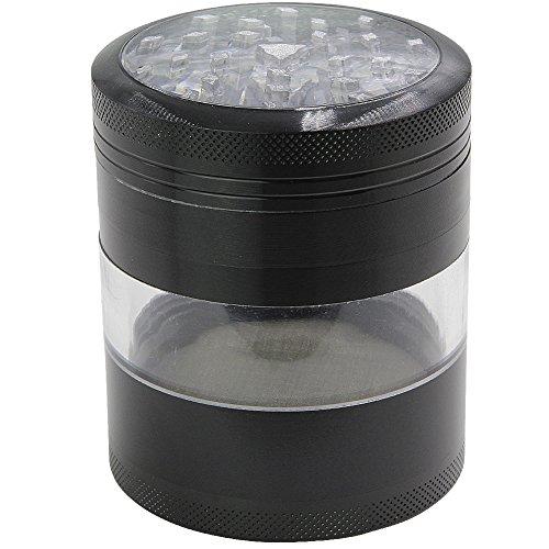 DCOU Grande alluminio Spice Herb Grinder - Impianto Grinder - Collettore di polline con coperchio magnetico e polline Catcher, 4 pezzi, 2,5 pollici, Nero