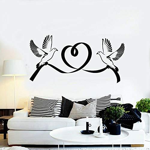woyaofal Colombe a Forma di Cuore Uccello Decalcomania da Muro Vinile Love Berds Cuore Antic Stickers Coppia Room Decalcomania da Muro Murale casa Rimovibile 42X84 cm