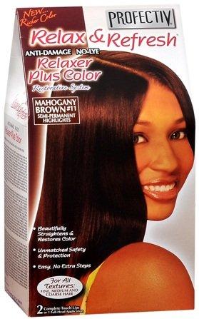 Relaxer / Glättungscreme mit Farbe / Profectiv Anti-Damage No-Lye Relaxer Plus Color KIT - Mahogany brown #11