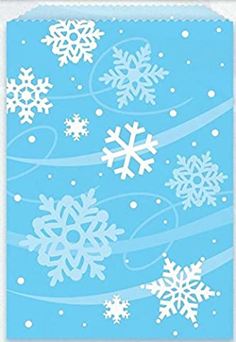 8flocon de neige de Noël Frozen Treat Sac pour enfant fête bonbons cadeau surprise en papier Bleu