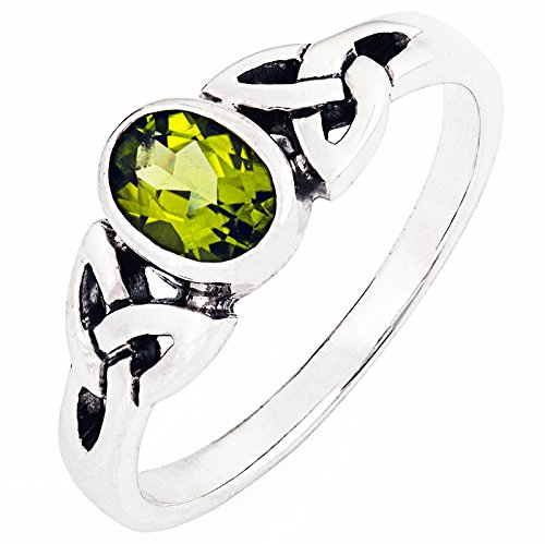DTPsilver -Ring 925 Sterling Silber mit Peridot Keltisch Design