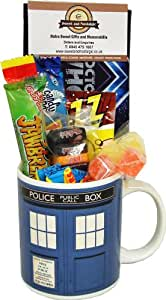 Dr Who Tardis Mug with a Time Travelling Selection of 80's Sweets 630gms