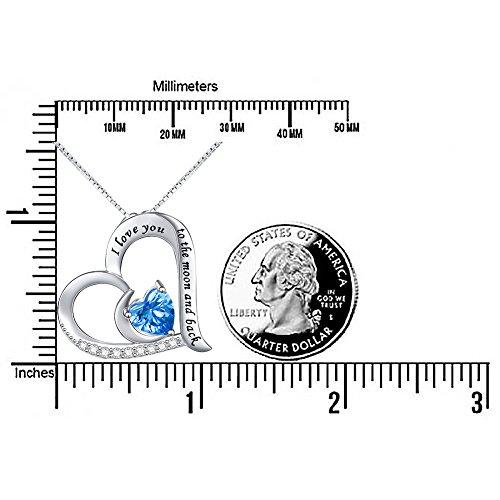 925Sterling Silber Anhänger Schmuck Gravur I love you to the moon and back Flyow Herz Halskette für Damen und Mädchen, mit 45,7cm Box Kette