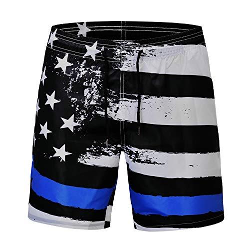 Spricen Herren Badeshorts Sommer Badehose 3D Strand Shorts Hawaii Freizeit Shorts Stars and Stripes-Flagge L (And Stripes-flagge Stars)