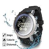 XZZ Smarte Uhr, beobachten IP68 Wasserdichten Profi-Sport-Vollbild Rundbildschirm-SMS Anruf, Langer Standby-Pedometer