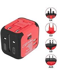 Voyage Adaptateur International Adaptateur de prise avec Double Chargeur USB US / EU / UK / AUS Universel Prise de Courant Tout en un Multi-Nation Multi-prise daptateur et Chargeur
