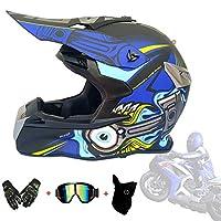 Full Face Helmet Off Road Motocross Quad Crash Helmet Downhill Dirt Bike MX ATV Adult Motorbike Helmet Gloves, Goggles, Mask 4 Piece Set,Blue,XL61~62cm
