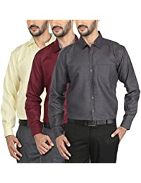 Mark Pollo Cotton Rich Fabric With Linen Look Slim Fit Formal And Semi Formal Combo Of 3 Shirts For Men (Light...