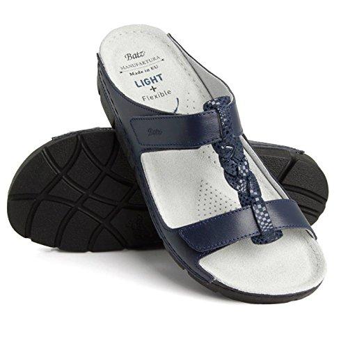 Batz Bori di Alta Qualità Sandali Zoccoli Pelle Donna Blu