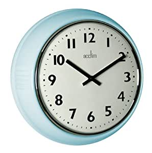 Acctim 27059 delia metal duck egg wall clock blue amazon for Blue kitchen wall clocks
