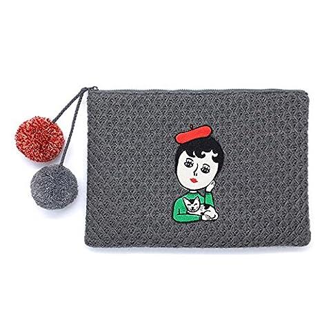 Femme Women Cartoon Knit Clutches Ladies Casual Long Zipper Portefeuille Wallet Envelope Bags Phone