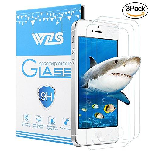 [Lot de 3] Verre Trempé iPhone 5S / SE / 5C /5, WZS® Film Protection en Verre trempé écran Protecteur Vitre pour iPhone 5 / 5C / SE /5S Anti Rayures - Sans Bulles D'AIR -Ultra Résistant Dureté 9H Glass Screen Protector