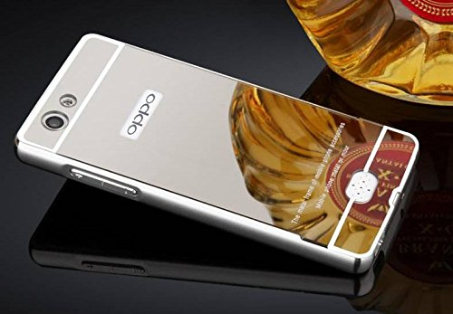 AE (TM) Luxury Metal Bumper + Acrylic Mirror Back Cover Case For OPPO Neo 7 SILVER