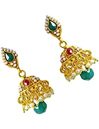 Surat Diamonds Traditional Green & Red Stone & Gold Plated Copper Jhumki Earrings For Women (PSE39)
