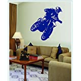 DECOR Kafe Home Decor Decal Style Racing Bike Wall Sticker, Wall Sticker For Bedroom, Wall Art, Wall Poster (PVC Vinyl, 76 X 76 CM)
