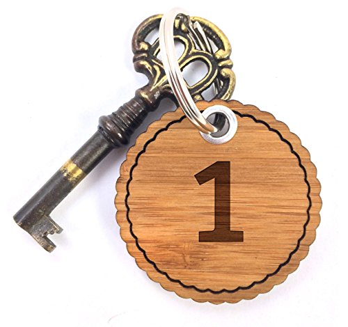 Preisvergleich Produktbild Mr. & Mrs. Panda Rundwelle Schlüsselanhänger Zahl 1 - 100% handmade aus Bambus - Alphabet, Zeichen, Zahlen, Buchstaben, Buchstaben, Hotelzimmer, Zimmer, Hotel Schlüsselanhänger Anhänger Zahl 1, Eins Hotelzimmer Hotel Gästezimmer Pension