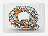 tgyew Letter Q Bath Mat, Typographic Letter Font Design with Various Gaming Balls Athletic Kids Teamplay, Plush Bathroom Decor Mat with Non Slip Backing, 23.6 W X 15.7 W Inches, Multicolor