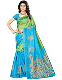 SAREE MALL Art Silk Saree With Blouse Piece(saree For Women Latest Design_SRJB007_Blue_Free Size)