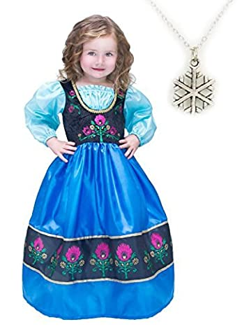 Snowflakes Costumes For Kids - Scandinavian Princess with Snowflake Necklace (X-Large) by