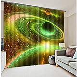 LJ-Curtain Graphique 3D imprimé Chambre Rideaux, Univers de l'Espace Rideau occultant Isolant Thermique Chambre assombrissement, 2 Panneaux-Vert 130x160cm(51x63inch)