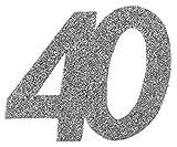 XXL Konfetti Tischdeko Zahl 40 Geburtstag Silber Glitzer 6 Stück Party-Deko Palandi®