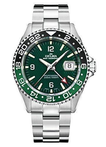 Schweizer Sportuhr - DELMA Herrenuhr - GMT Meridian, Ø 43 mm, grün