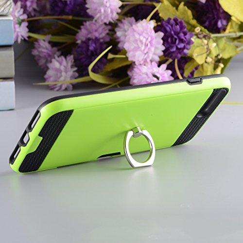Wkae Texture Metall Schutzmaßnahmen zurück Fall mit Ring Halter Stand & Card Slot für iPhone 7 Plus ( Color : Pink ) Green