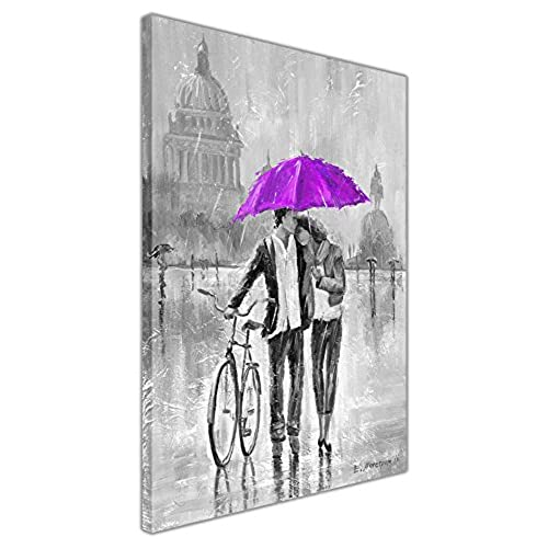 Black and white romantic couple with bicycle holding purple umbrella on framed canvas print wall art pictures size a2 24 x 16 60cm x 40cm