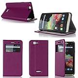Wiko Rainbow / Wiko Rainbow 4G LTE Tasche Leder Hülle lila violett purple Cover mit Stand und Präsentationsfunktion - Zubehör Etui Wiko Rainbow Flip Case Schutzhülle Präsentationsfunktion (PU Leder, Handytasche purple - S View Cover) - XEPTIO accessoires