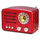 PRUNUS NUOVO Radio a transistor ricaricabile Bluetooth in stile Classico Retro come il legno FM/AM(MW)/SW/SD/TF/USB/MP3/AUX con Altoparlanti, Finestra di sintonizzazione circolare di 270° (rosso)