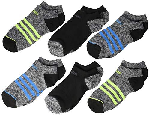 adidas Kinder Socken für Jungen/Mädchen, 3-Streifen-Design, 6 Paar, Unisex-Kinder, Socken, Youth 3 Stripe No Show (6-Pack), Black - White Marl/Black/Shock Cyan Blue/Solar Slime, 13C-4Y -