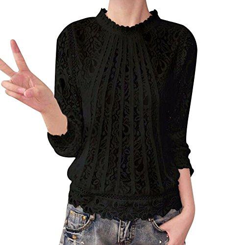 iHENGH Damen Sommer Top Bluse Bequem Lässig Mode T-Shirt Blusen Frauen Feste Lange Hülsen O Ansatz Spitze beiläufige Oberseiten Blusen T-Shirt(Schwarz, L) Tan Ankle Wrap